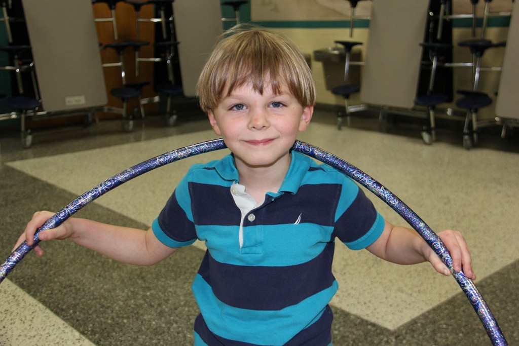 Image of Cooke Elementary student and his hula hoop